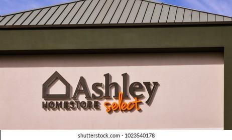 Gilroy, CA/USA - Feb. 10, 2018: Ashley Homestore branch store at Gilroy Premium Outlets, Gilro, CA.
