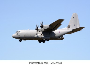 GILZE-RIJEN, THE NETHERLANDS - JUNE 18: Royal Air Force C-130J Hercules flyby on the Dutch Air Force Open Days. June 18, 2005 in Gilze-Rijen, The Netherlands