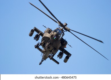 GILZE-RIJEN, THE NETHERLANDS - SEP 7, 2016: Royal Netherlands Air Force Boeing AH-64 Apache attack helicopter.