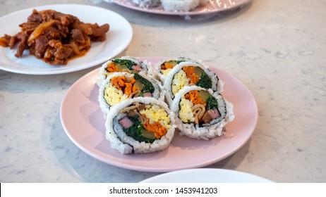 Gimbap, Homemade korean food on the table
