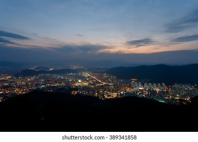 Gimhae South Korea. November 2014. Gimhae Astronomical Observatory. Night view of the city seen from a high observation deck