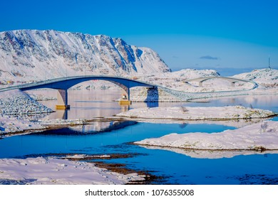 Gimsoystraumen Bridge is a cantilever road bridge that crosses the strait between the islands of Austvagoya and Gimsoya in the municipality of Vagan in Nordland county, Norway