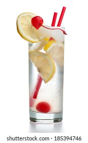 Gin Fizz with two red straws isolated on white background