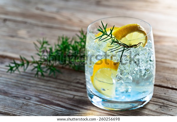 Gin with lemon and juniper branch on a old wooden table