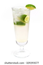 Gin Rickey cocktail isolated on white background. Full length.