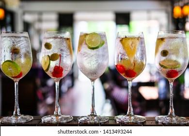 Gin tonic alcoholic drinks on counter bar