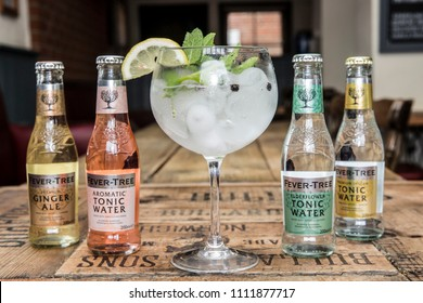 Gin and tonic with flavoured fever tree tonics