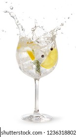gin tonic garnished with lemon and rosemary splashing on white background