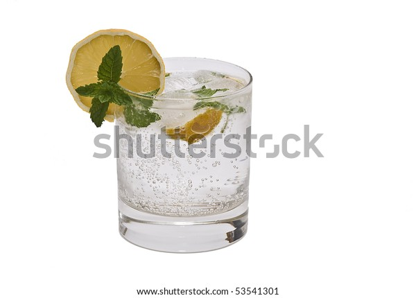 A gin tonic isolated on a white background.