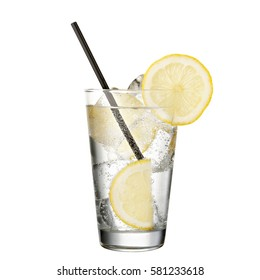 gin and tonic with lemon isolated on white background classic alcohol cocktail .