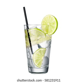 gin and tonic with lime isolated on white background classic alcohol cocktail.