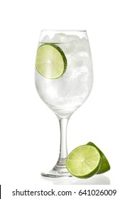 Gin tonic served in a glass of wine