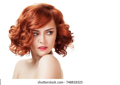 Ginger beautiful woman. Perfect red hair. Isolated on white background.