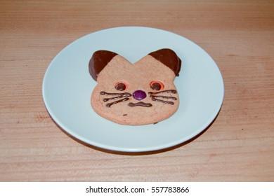 Ginger bread cat biscuit
