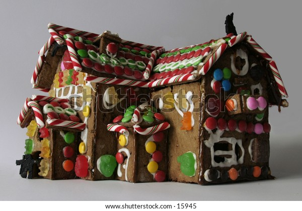 A ginger Bread house seen from a low vantage point