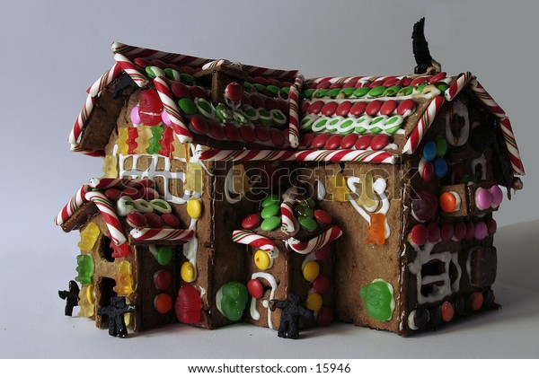 A ginger bread house seen from the side