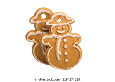 ginger christmas cookies isolated on white background