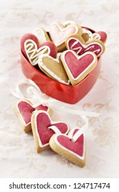 Ginger Heart shaped cookies for Valentine's or Wedding Day in red heart shaped box.