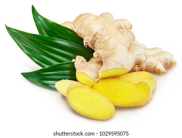 Ginger with leaves Isolated on a white Clipping Path