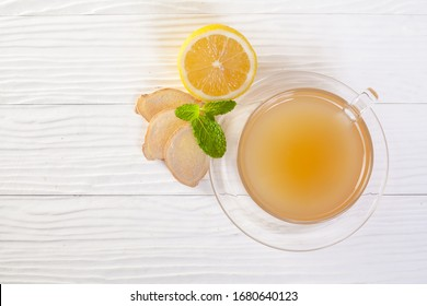 Ginger and lemon fresh cocktail, immunotherapy drink