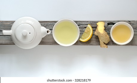 Ginger lemon tea concept, top view with some free space