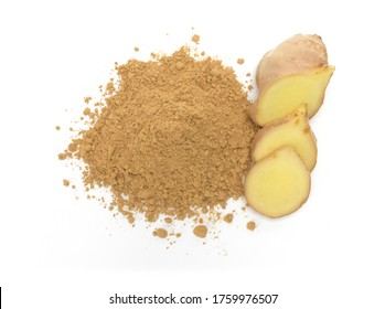 Ginger powder,Fresh ginger root and sliced isolated on white background,Top view.