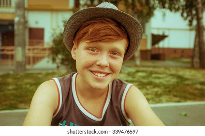 Ginger red hair haired boy funny face