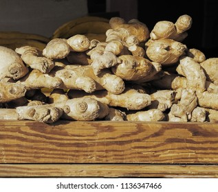 Ginger root in farmers market stall