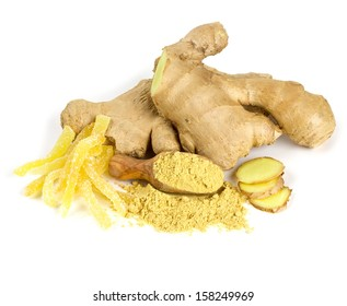 ginger root products isolated on white