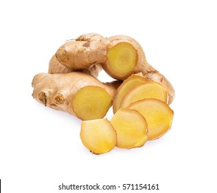 Ginger root, slices of ginger isolated on white background