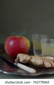 Ginger shots and apple