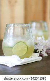 Ginger soda with lime, ginger ale, and agave syrup.