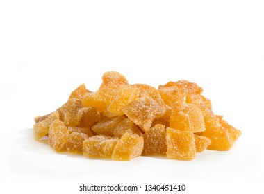 ginger sweet sugary slices isolated on white