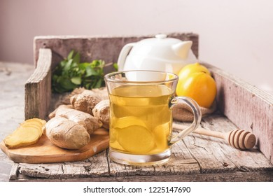 Ginger tea with lemon and herbs