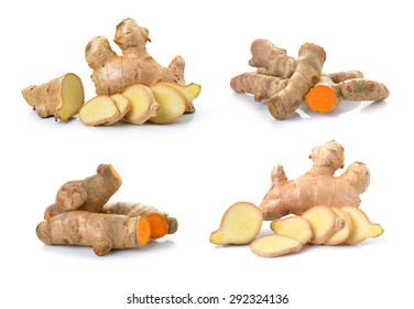 ginger and turmeric on white background