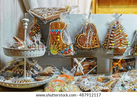 Gingerbread among other cookies in the Vilnius Christmas Market, Lithuania. It is one of the main Christmas symbols which can be decorated with various candies and ornaments.