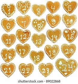 Gingerbread calendar; 24 decorated hearts