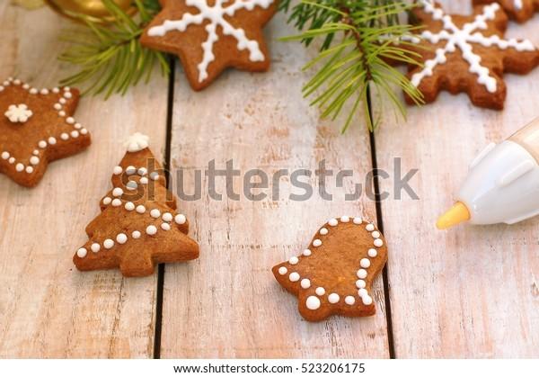 Gingerbread Christmas Cookies Decorating Pen Green Stock Photo Edit