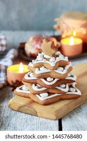 Gingerbread christmas tree. Beautiful xmas dessert.
