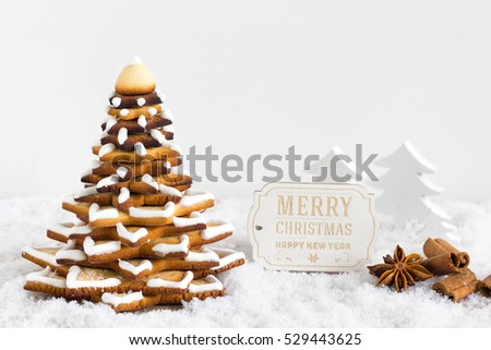 Gingerbread Christmas Tree Cookies On White Stock Photo Edit Now