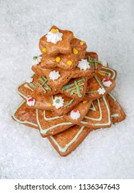 Gingerbread christmas tree on artificial snow shot from above