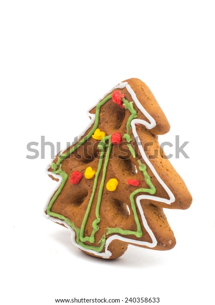 Gingerbread Christmas tree on a white background