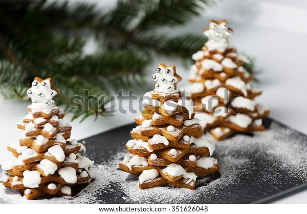 Gingerbread Christmas Trees Cookies Live Christmas Stock Photo Edit
