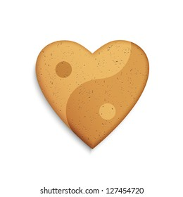 Gingerbread cookie in the shape of a heart with Yin Yang symbol. Raster version