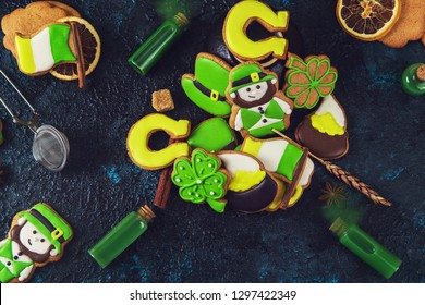 Gingerbread cookies with different cookie shape for St. Patrick's Day