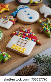 gingerbread cookies with glaze. new year cockies. christmas snacks