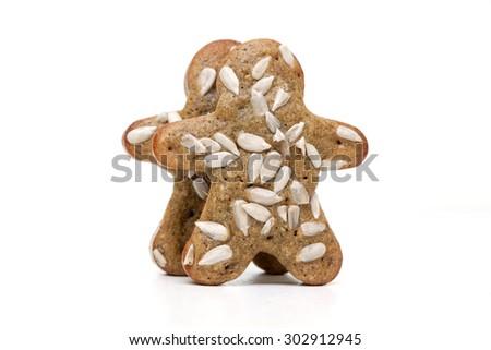 Gingerbread Cookies Man Cinnamon Sunflower Seeds Stock Photo (Edit