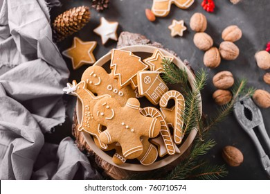 Gingerbread  cookies on a gray background.