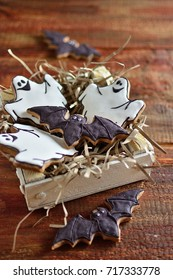 Gingerbread cookies on halloween, wooden old background copy of space