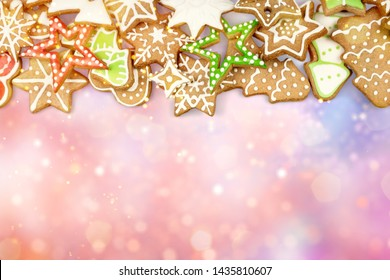 Gingerbread cookies on white background. Snowflake, star, man, angel, candy shapes